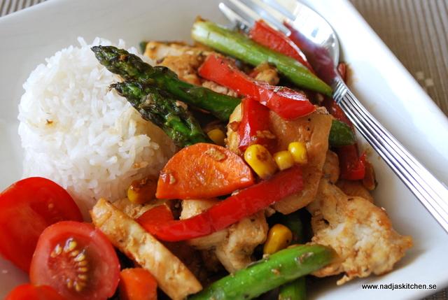 Kycklingwok med ris nadjas kitchen