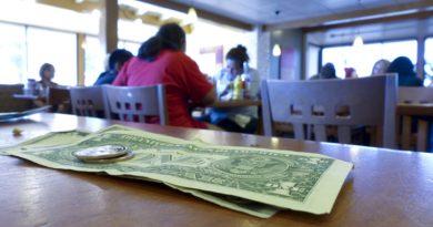 Dricks pengar på bord