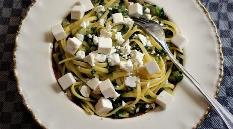 pasta med spenat och fetaost