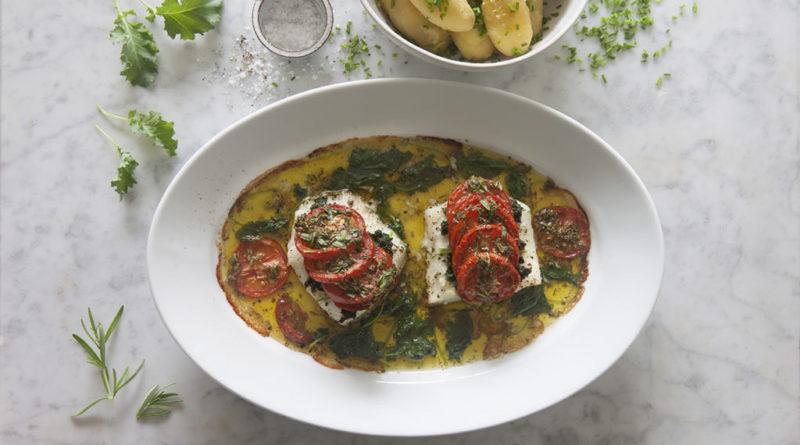 Torskfilé med grönkål, tomat och rosmarinolja