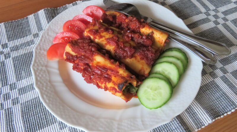 Cannelloni med spenat- och färskostfyllning