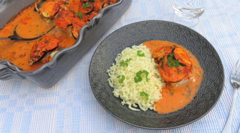 Fiskgratäng med zucchini och ajvar